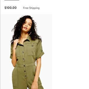 Top shop women green army jumpsuit